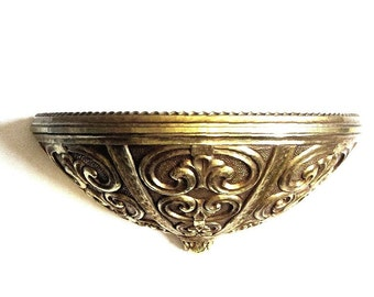 Hollywood Regency Gold Wall Garden Pocket Planter Ornate Pebble and Scroll Work 60s Home and Garden