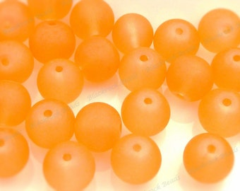 10mm Bright Orange Frosted Glass Beads - 20pcs - Round, Red Violet, Matte Glass - BF3