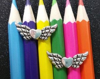 10 PCS - Upward Heart Angel Fairy Wing Bead Spacer Silver Charm Pendant C0098