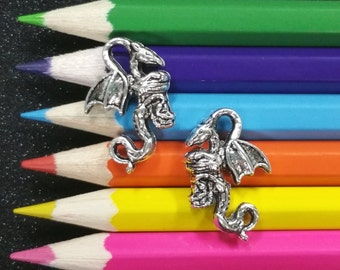 10 PCS - Dragon Wings Fantasy Animal Silver Charm Pendant C0419