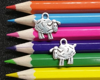 10 PCS - Sheep Bo peep Animal Farm Silver Charm Pendant C0894