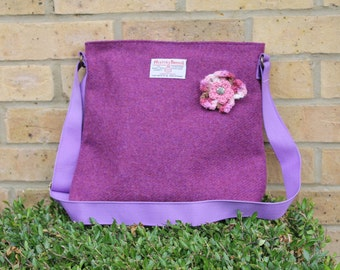 Harris Tweed bag, crossbody bag, Tweed purse, berry pink / purple Harris tweed cloth
