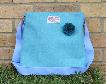 Harris Tweed bag, crossbody bag, Tweed purse, aqua Harris tweed cloth