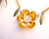 Nadia - Special Price - vintage flower golden art nouveau boho gypsy plastron necklace