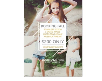 INSTANT DOWNLOAD - Fall Mini Session template - Photoshop template - E908