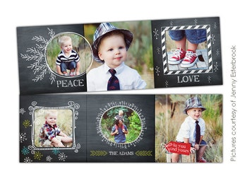INSTANT DOWNLOAD - 5x5 Accordion card Photoshop Template - Chalkboard Greetings - E611