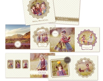 INSTANT DOWNLOAD - 12x12 Album template for photographers - Happy Friends - E228