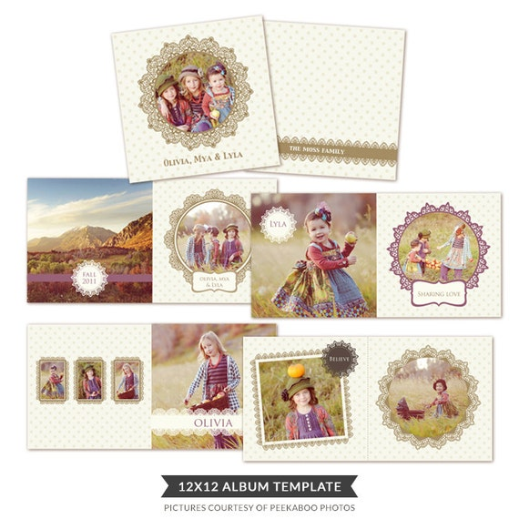 INSTANT DOWNLOAD - 12x12 Album template for photographers - Happy Friends - E228
