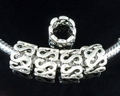 6 - European S Bead Charms Tibetan Antique Silver Ships From The United States - Ec154
