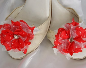Red Shoe Clips, Flower Shoe Clips,  Wedding Accessories, Bridal Shoes Clips