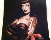 Bettie Page Poster,Bettie Page Print, Mugshot Art,Rockabilly Art, Lowbrow Art, Marcus Jones,Poster Print 16.5 x 11.7 inches approx