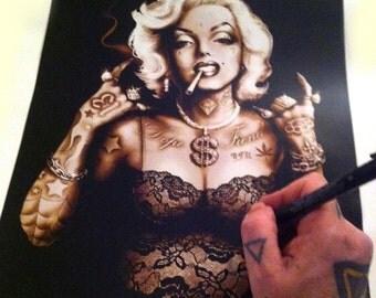 Tattooed Marilyn Monroe Art,Marilyn Monroe,Pinup,Tattooed Pinup,Gangster,Tattoo Art,Alternative Art, Poster Print