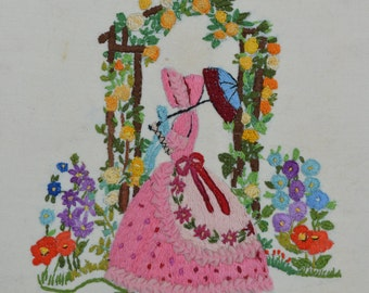 1950s Vintage Needlepoint Vintage Sampler of an English Crinoline Lady in an English Country Garden Cottage Garden
