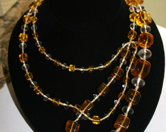 Vintage Czechoslovakian Art Deco 1920's Graduated Amber Glass Cube Bead Necklace Gatsby Style