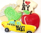 New York Theme Sugar Cookies NYC Iced Decorated Cookies I Love New York Big Apple Taxi Cab