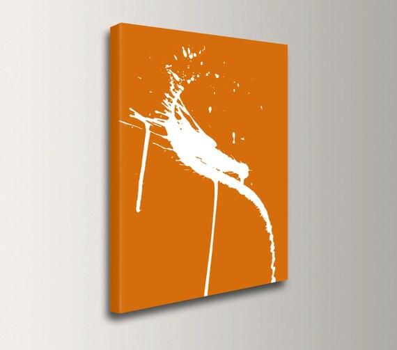 "Orange and White - Wall Art - Canvas Print - Abstract Art - Splatter Painting - ""Swipe"""