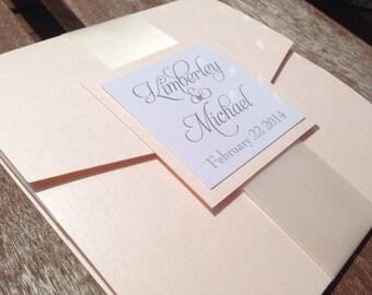 Elegant Pebble Paper Pocketfold Wedding Invitation with Custom Monogram - Fully Customizable!