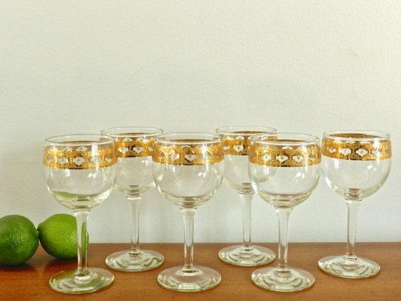 Vintage culver valencia wine glasses gold wine goblets barware - Vintage valencia ...