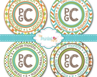 Monthly Baby Stickers - Baby Shower Gift and Photo Prop - Monogram - Boy - 300