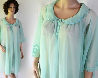 60s Kayser Robe / Mad Men Lingerie / Betty Draper / Blue / Sheer