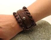 FREE SHIPPING . Men's leather bracelet. Brown flat leather plain men's  bracelet.Womens bracelet.Leather bracelet.Brown bracelet