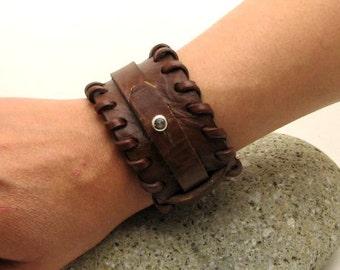 EXPRESS SHIPPING . Men's leather bracelet. Brown flat leather plain men's  bracelet.Womens bracelet.Leather bracelet.Brown bracelet