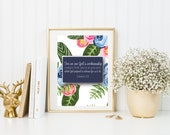 Ephesians 2:10 DIGITAL DOWNLOAD {Floral Instant Download. Bible Wall Art. For We are God's Workmanship. Bible Verse for Dorm Room}