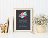 Colossians 3:12 DIGITAL DOWNLOAD {Floral Instant Download. Bible Verse for Dorm Room. DIY Bible Verse Printable. Chalkboard Printable.}