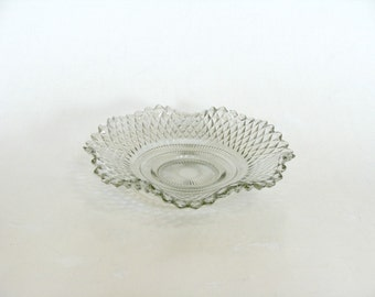 Indiana Glass Diamond Point Clear Glass Candy Condiment Relish Trinket Dish with Ruffled Edge