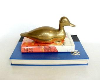 Solid Brass Duck Bookend Statue, Desk Bookshelf Decor, Decorative Animal Collectible Figurine