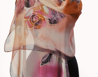 Roses in Brown/Hand painted silk chiffon scarf/Luxury silk scarf/Painting flowers/Long floral scarf/Woman accessory/Hand painted scarf/Shawl