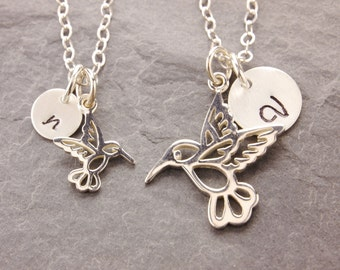 Humming Bird Necklace, mom and daughter, mother necklace, pair, matching necklace, personalized, initial necklace, N10