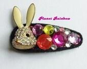 Kawaii Collage Hair Clip - Rhinestone Bunny