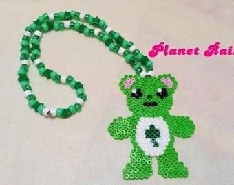 Good Luck Bear Perler Kandi Necklace