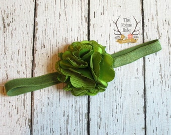 Petite Olive Green Headband with Satin & Tulle -  Baby Headband - Green Headband - Olive Green - Satin Headband - Preemie - Headband