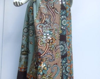 Boho Chic Cotton Sequined Floral Paisley Long Festival Skirt