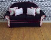 Dollhouse Sofa 1:12th Scale,Black and Pink Price reduced!