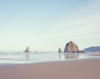 Oregon Beach Photography - Haystack Rock - Beach Photo - Oregon Photo - Fine Art Photograph - Oregon Coast - White Green Blue Home Decor