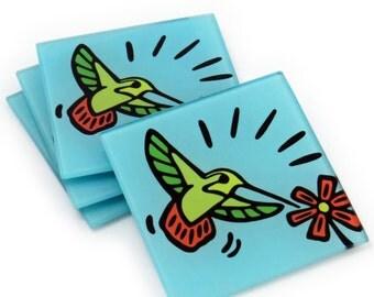 Hummingbird Tempered Glass Coasters