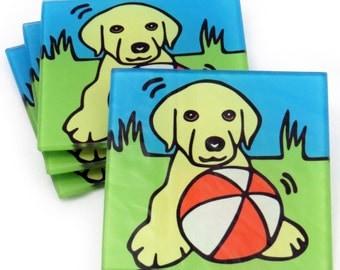 Yellow Labrador Retriever/Yellow Lab Dog/Yellow Lab Puppy Tempered Glass Coasters