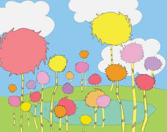 truffula trees, the lorax, dr seuss.. instant download jpeg