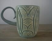 Yellow Sgraffito Mug
