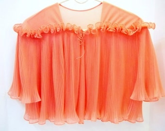 Vanity Fair Coral Pink Pleated Bed Jacket 1950s Salmon Pink Capelet Vintage Lingerie Size Medium Ruffled Pleated Gown Coverup DD 835