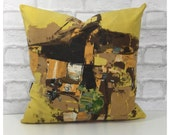 "Cushion Cover 1960s David Whitehead Cyclades Fabric 18"" x 18"""
