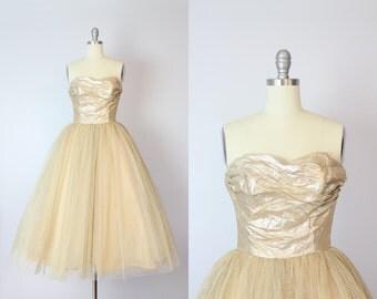 vintage 50s gold dress / strapless gold party dress / formal dress / HARRY KEISER dress / golden wedding dress