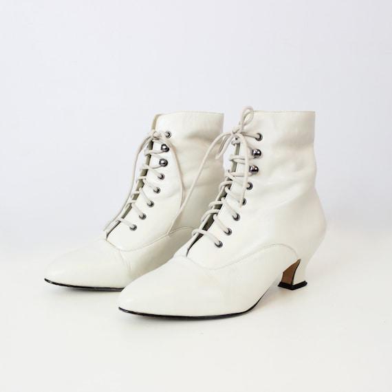 vintage leather lace up boots white edwardian style