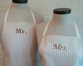 Neutral Stripe Mr & Mrs Apron Set with Pocket FREE SHIPPING - Husband and Wife, Brown Tan and Cream Ivory Stripe, Wedding Shower Gift Idea