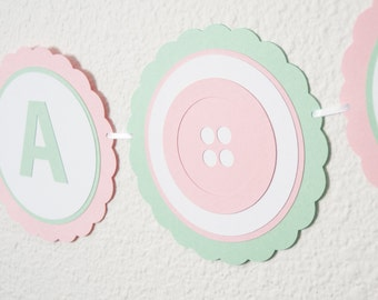 It's A Girl Baby Shower Banner, Button Baby Shower, Girl Baby Shower, Baby Shower Decor, Mint and Pink, Baby Shower Sign
