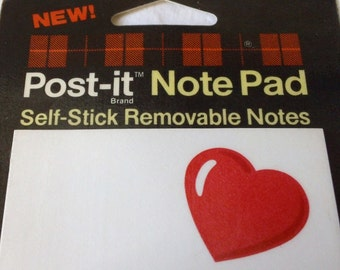 1985 Vintage Heart Post-it Note Pad NOS Valentine's Day