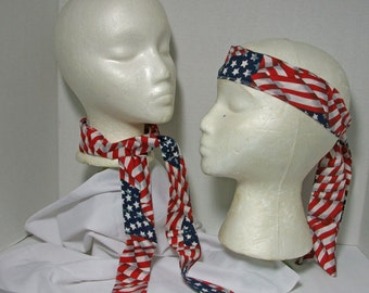 SALE - USA Flag Neck Cooling Ties / Headbands